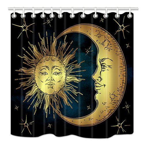 (HNMQ Boho Chic Art Shower Curtain, Golden Sun Moon and Stars Over Blue Black Sky Antique Style, Mildew Resistant Fabric Bathroom Decorations, Bath Curtains Hooks Included, 69X70 inches)