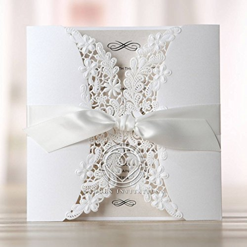 Wedding Invitations, Enchanting Ivory Laser Cut Floral Wrap, Perfect for Weddings, Engagement, Bridal Shower Party by B Wedding Invitations, (BH1646)