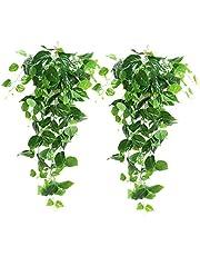 XONOR 2 stuks kunstmatige groene hangende scindapsus bladeren, vervalste Ivy hangende slingers voor bruiloft huis tuin wanddecoratie