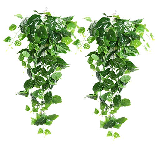 2Pieces Artificial Green Hanging Scindapsus Leaves, Fake Ivy Hanging Vine Greenery Garlands for Wedding Party Home Garden Wall Decoration, Scindapsus
