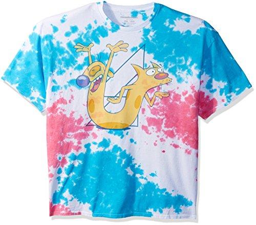 Nickelodeon Men's Cat Dog Short Sleeve Graphic T-Shirt, Tie Die, (Die Short Sleeve T-shirt)