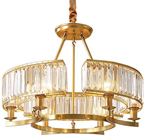 Vintage Chandelier Retro Brass Pendant Light, E14 Crystal Ceiling Light Flush Mount Pendant for Living Room Bedroom-6 Lights 65x47cm(25x18inch)