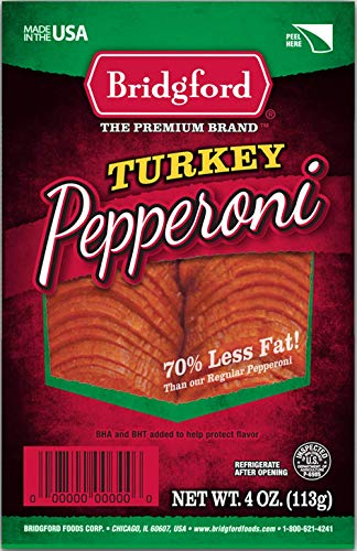 Pepperoni Pizza Slice - Bridgford Sliced Turkey Pepperoni, Gluten Free, 70% Less Fat, Made in the USA, 4 Oz, Pack of 3