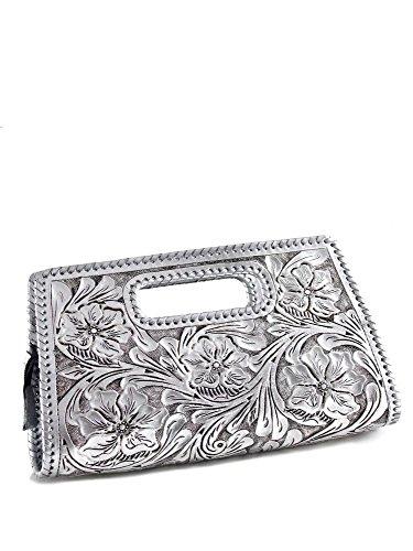Que Chula Sobre Chico (Small) Handtooled Leather Clutch Purse Silver SOBRECHICO-SVR by Que Chula