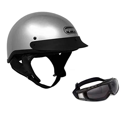 MMG 205 Motorcycle Half Helmet Cruiser DOT Street Legal, Silver, XL, Includes Riding Goggles: Sports & Outdoors