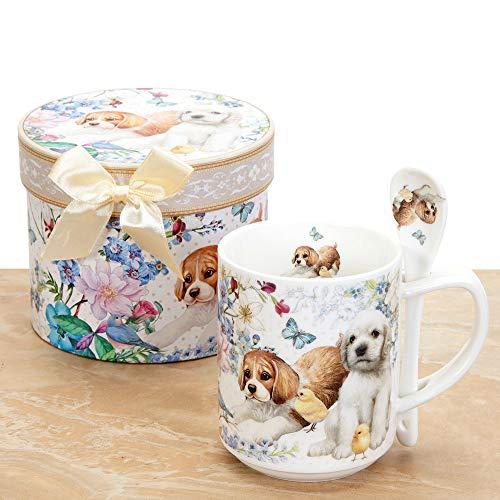 Bits and Pieces - Puppy Mug w/Spoon Set - 10 OZ Puppy Mug with Teaspoon - Coffee and Tea Mug Comes in Beautiful Gift Box