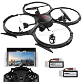 DBPOWER UDI U818A WiFi FPV Drone with HD Camera – Includes BONUS BATTERY and 4GB TF Card – 2.4GHz 4CH 6 Axis Gyro RTF UFO RC Quadcopter with Headless Mode Gravity Induction and Low Voltage Alarm