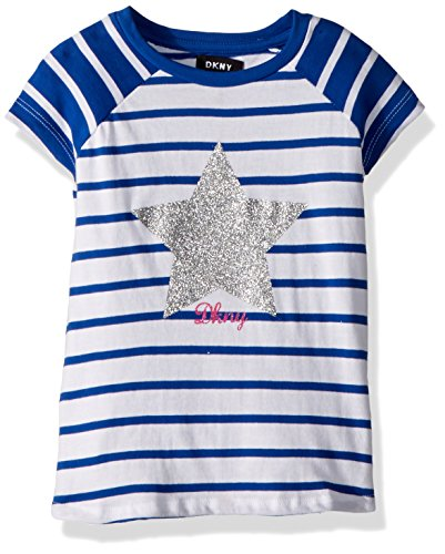 DKNY Little Girls' Short Sleeve T-Shirt, Stripe Glitter Surf The Web, 6 - Dkny Kids