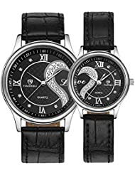 Romantic His and Hers Watches - fq102 Pair Hearts Wristwatches for Man Woman, Ultrathin Leather Strap, Crystals...