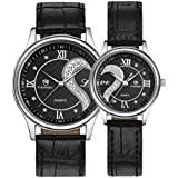 Fq-102 Ultrathin Leather Romantic Crystals Pair Fashionable Wrist Watches for Couples Man Woman Black Set of 2...