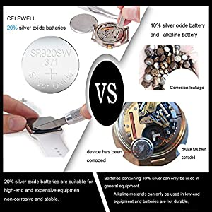 【3-Year Warranty】 CELEWELL 370 371 1.55V Button Cell Contains 20% of Silver Oxide SR920SW Watch Battery Pack of 10 Batteries