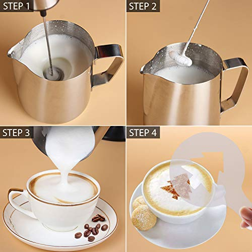 Portable Milk Frother, PEMOTech [3 in 1] Electric Milk Forther with Mix Spoon & 16 PCS Art Stencils, Handheld Frother Foam Maker with Double & Single Spring Whisk Head for Coffee, Cappuccino, Latte by PEMOTech (Image #6)