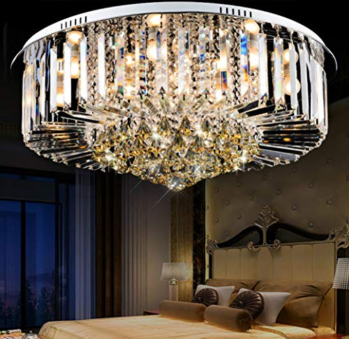 (ZLIANG LED Ceiling Light Atmosphere Round Chrome Simple Crystal Glass Lampshade Flush Mount Ceiling Light Chandelier for Dining Room Bathroom,Remotedimming,6530CM )