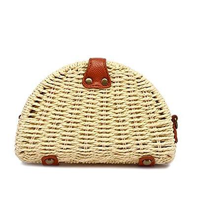 Straw Crossbody Bag Shoulder Bag Travel Straw Bag Beach Handmade Semi-circle Beach Bag for Women