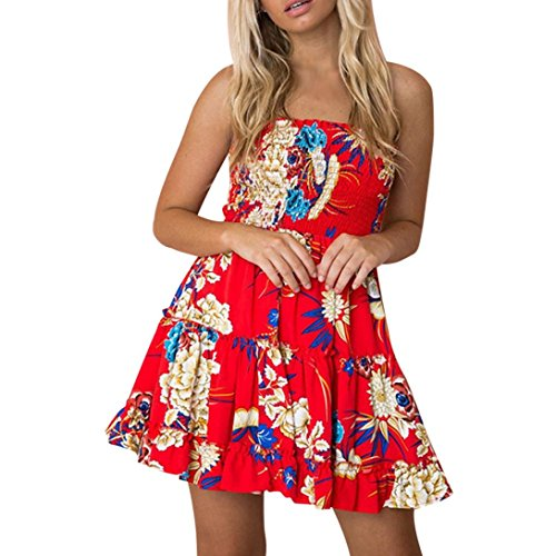 Sleeveless Mini Strapless (Han Shi Womens Dresses Printing Off Shoulder Strapless Sleeveless Mini Sundress (XL, Red))