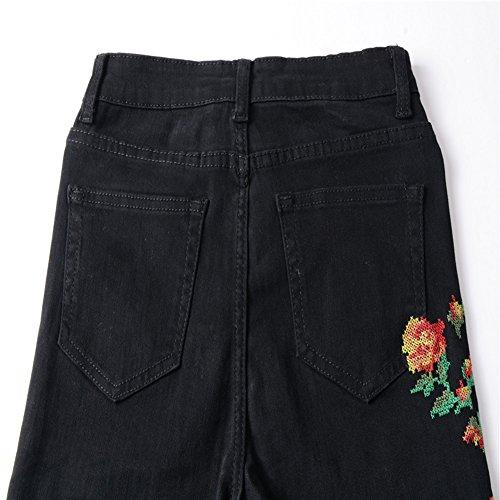 Up Jeans Noir Pantalons Skinny Denim Push Jean Casual Femmes Brodes Fleurs Trendy Sfv7vqd
