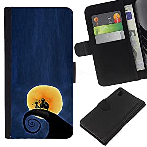 A-type (Surfing Surf Wave Moon Blue Night) Colorida Impresión Funda Cuero Monedero Caja Bolsa Cubierta Caja Piel Card Slots Para Sony Xperia Z1 L39