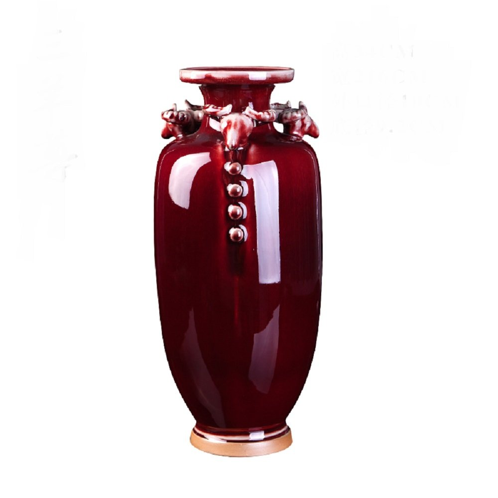 LXYFMS Red Ceramic Vase Porcelain Porcelain Ornaments Chinese Style Living Room Sanyang Qitai Feng Shui Crafts Decorations Crafts