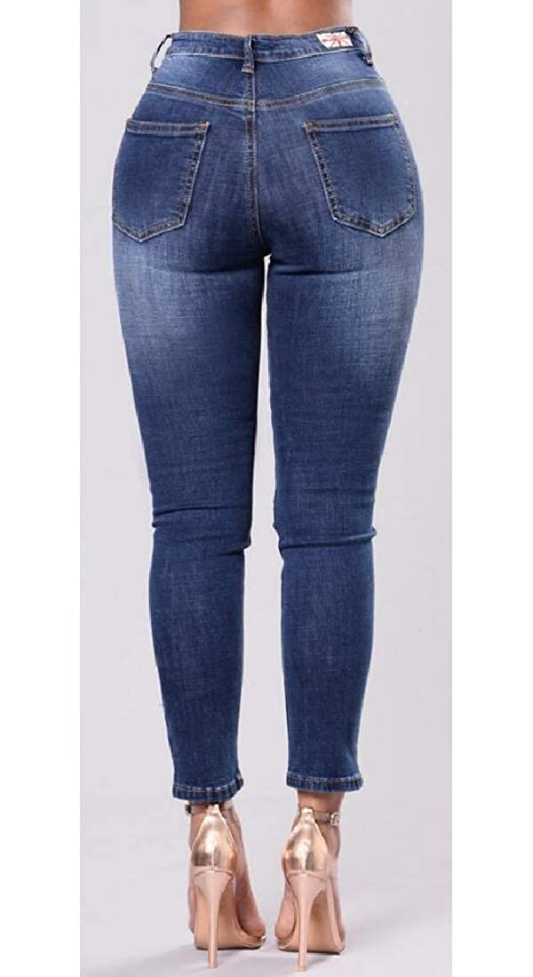Suncolor8 Womens Stretchy Low Rise Ripped Holes Bodycon Embroidery Denim Jeans Pants