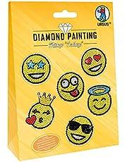 URSUS 43500006 Diamond Painting Smileys, do tworzenia naklejek z błyszczącymi diamentami, 2 arkusze naklejek 15 x 10 cm, z różnymi wzorami, kamykami diamentowymi, picker, wosk i miska, kolorowy