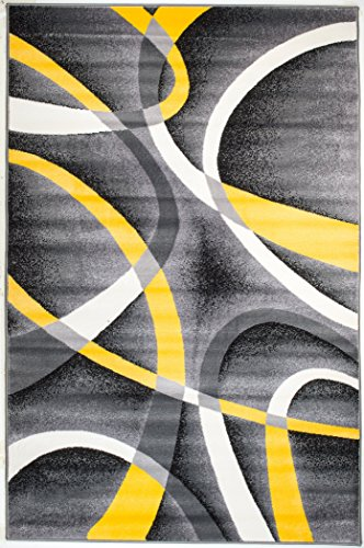 Summit 21 New Yellow Grey Area Rug Modern Abstract Many Sizes Available , DOOR MAT 22 inch x 35 inch