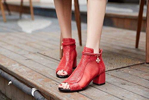Sandals Cool Red Spring Heels Peep Toe Mesh SHINIK High Women Boots Leather Summer Transparent OIwqPWWtpx