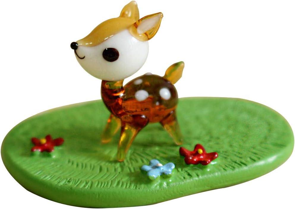 KAZALEE MALL Bambi Deer Figure and Green Stage Set Glass Handmade Miniature Interior Set Deer Doll