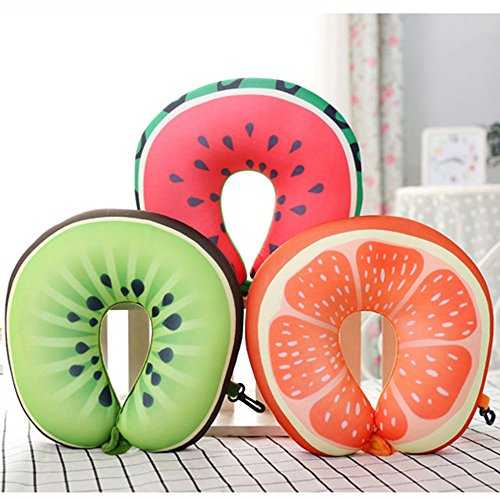 KANG--Update 3D Fruit Pattern Pillow Case Home Neck Support Headrest U shape Car New