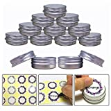 Aluminum Tin Jars, Cosmetic Sample Metal Tins Empty Container Bulk, Round Pot Screw Cap Lid, Small Ounce for Candle, Lip Balm, Salve, Make Up, Eye Shadow, Powder (24 Pack.5 Oz/15ml)