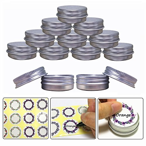 Aluminum Jars - Aluminum Tin Jars, Cosmetic Sample Metal Tins Empty Container Bulk, Round Pot Screw Cap Lid, Small Ounce for Candle, Lip Balm, Salve, Make Up, Eye Shadow, Powder (24 Pack, .5 Oz/15ml)