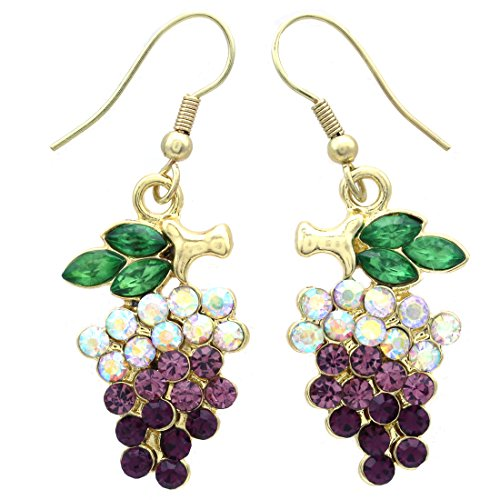 SoulBreezeCollection Lavender Purple Grape Earrings Green Leaf Violet Fruit Jewelry for Vineyard Wine Tasting (Dangle - Gold)