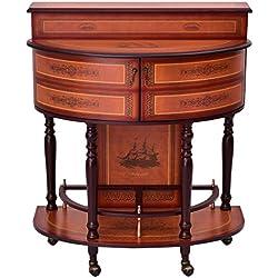 Giantex Rolling Vintage Wine Cabinet Bar Stand Wood Storage Holder Liquor Bottle Shelf