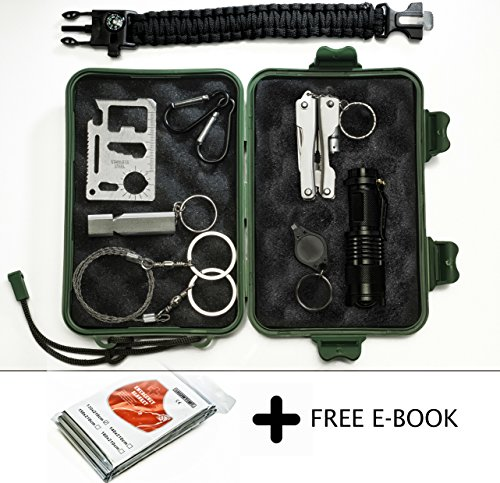 Qualyteo Emergency Survival Kit by 30 in 1 Outdoor, Camping, Hiking, Tactical Survival Kit with EM Blanket, Wire Saw, Paracord Bracelet, Credit Card Tool & more | 77-page Hiking Tips Ebook Included