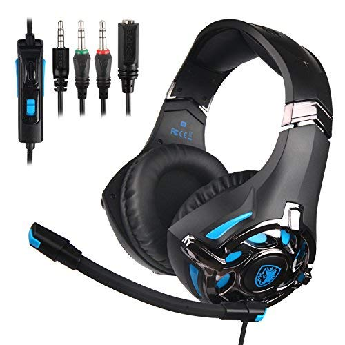 PS4 Gaming Headset, SADES SA822 PC Gaming Headphone Stereo Sound Over-Ear Headphone with Microphone Volume Control