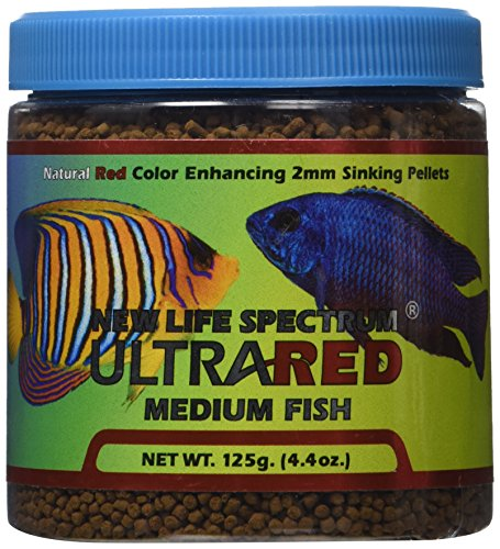 New Life Spectrum UltraRED Medium Red Enhancer 2mm Sinking Pet Food, 125gm by New Life Spectrum