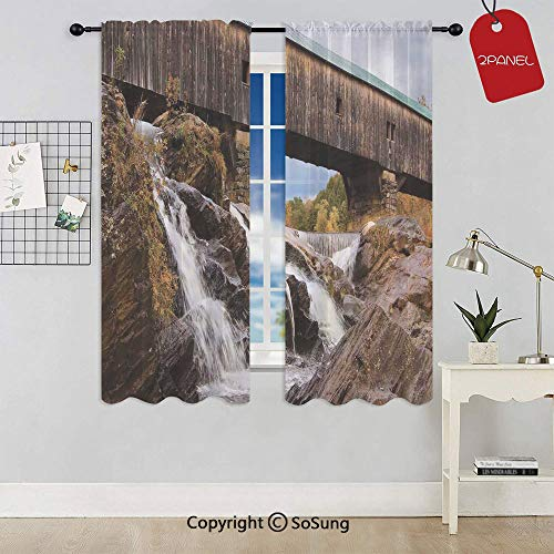 Old Rustic Oak Covered Bridge over Cascading Waterfalls Rock Fall Season American City Rod Pocket Sheer Voile Window Curtain Panels for Kids Room,Kitchen,Living Room & Bedroom,2 Panels,Each 42x72 Inch