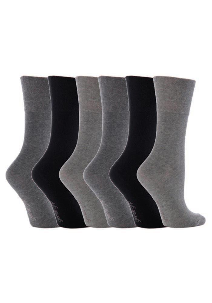 6 Pairs Women's Sockshop Cotton Gentle grip socks 4-8 uk,37-42 eu Plain colours