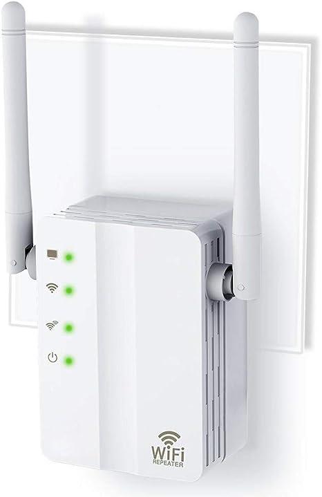 DBSCD Extensor de WiFi, repetidor, Banda Dual de Largo Alcance, Amplificador de señal, con 2 Extensor de Antenas externas, Plug and Play, Modo de ...