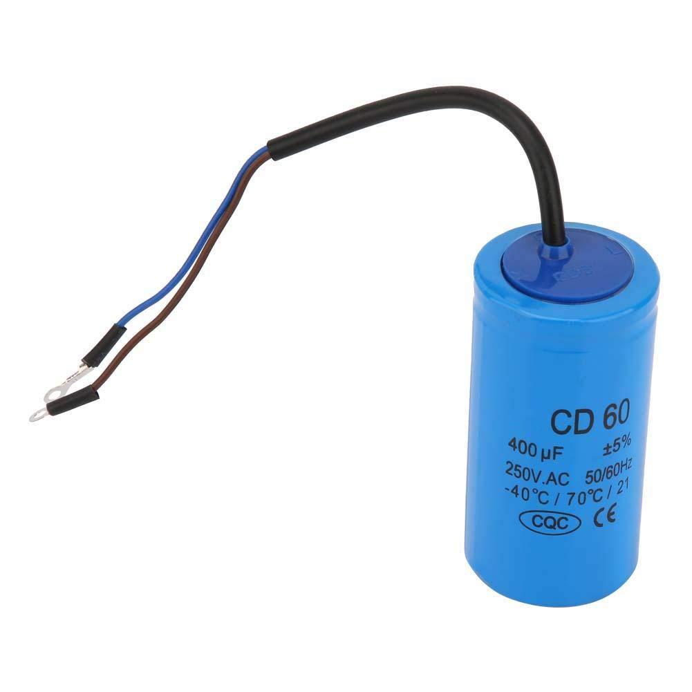 Condensateur d/'ex/écution CD60 400 uF condensateur de moteur avec fil 250VAC 50 60Hz pour compresseur d/'air moteur