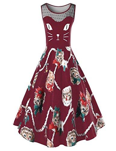 Ladies Swing Coat (Dreaman Elegant Design Fashion Womens Cat Printing Sleeveless Party Dress Ladies Vintage Swing Lace Dress (M, Wine Red))