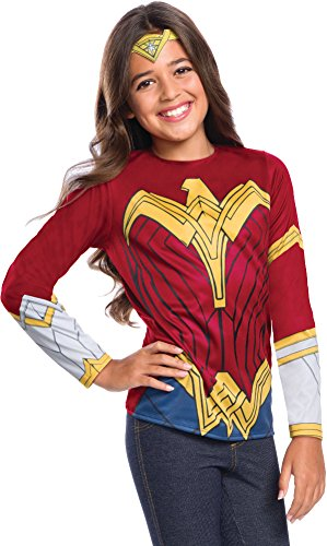 Wonder Woman Halloween Costume Pants (Justice League Child's Wonder Woman Costume Top, Large)