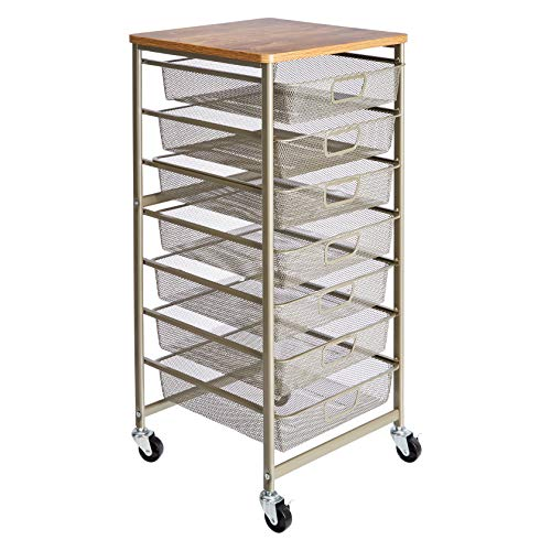 AmazonBasics Rolling Storage Cart and Organizer with 7 Metal Mesh - Cart Drawer 7