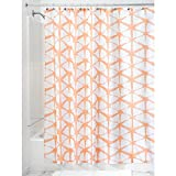 InterDesign Diamond Fabric Batik Shower Curtain, Melon
