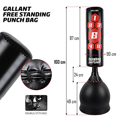 Gallant 5.5ft Free Standing Boxing Punch Bag Stand | Heavy Duty Punching, Kickboxing, Martial Arts, MMA Dummy Training Equipment | For Adults & Kids Punch Bag & Base Height 167cm | Excellent Quality