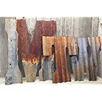 """Rusty Tin Letters Rustic Metal Wall Decor 8"""" - 36"""" Reclaimed Galvanized Tin Wedding Decorations"""