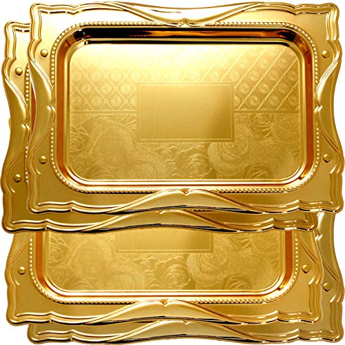 Maro Megastore (Pack of 4) 17.3-Inch x 12.6-Inch Iron Gold Serving Mirror Tray Victoria Design Decorative Style Wedding Birthday Buffet Party Snack Dining Platter Plate Food Art Deco Party Wine Ts-270