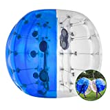 LOVSHARE 4FT Inflatable Bumper PVC Bubble Soccer Ball Dia 4FT 1.2M Zorbing Giant Human Hamster Ball for Adults or Child (4FT Blue and Transparent)