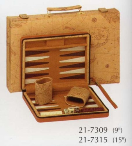 Tan Map Style Backgammon by Wood Expressions NA