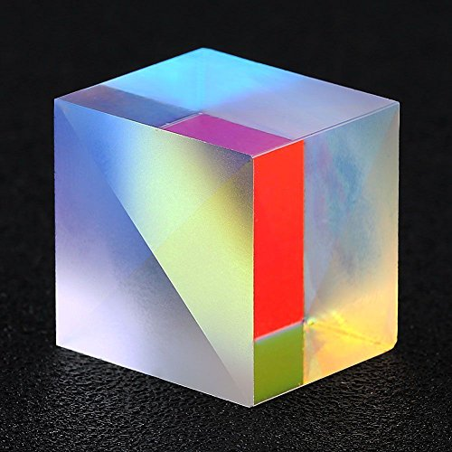 F-ber 1Pcs 2 x 2 x 1.7cm Colorful Optical Glass RGB Dispersion Cross Dichroic Cube Prism X-Cube for Physics Teaching Research Decoration Art Education