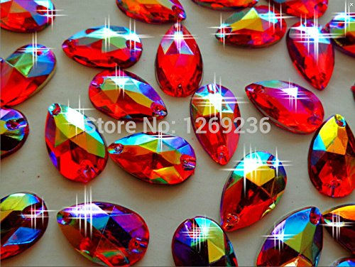 New Sew on Beads Crystals Red AB Colour 11x18mm Drop Shape Rhinestones Accessories Hand Sewing Stones 150pcs /lot by Zbroh
